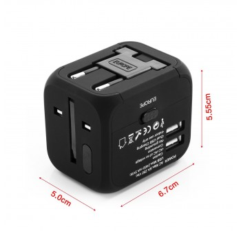 Universal Travel Adapter with Dual USB Port
